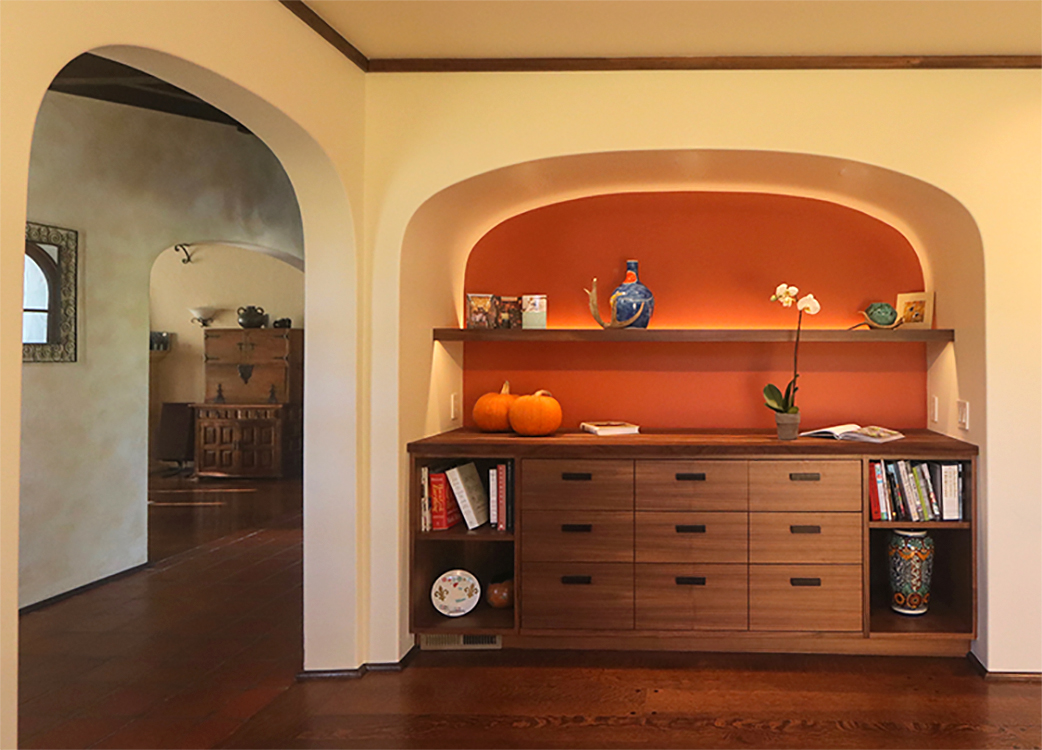 Floating Shelf Has Hidden Backlighting On Top Surface To Backlight Objects  On Shelf, And Also Downlighting At The Front ...